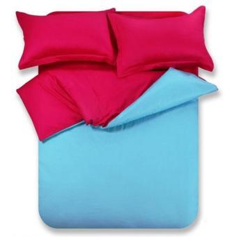 jaxine bedcover set satin/katun jepang polos blue red wine