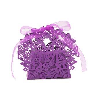 BolehDeals 20x Butterfly Cut Candy Sweet Box w/ Ribbon Wedding Party Favor Gift Purple