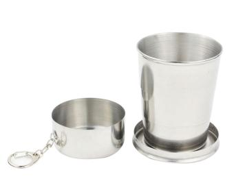 wuzeyu Stainless Steel Three Layer Medium Sized Collapsible Pocket Cup Short Glass(Medium Size)