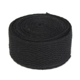 20mmx2m Herringbone Twill Cotton Webbing Tape Strap For Sewing Bunting DIY Carft Black