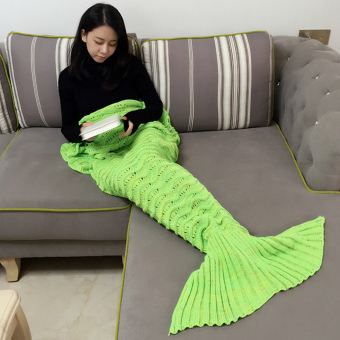 All Seasons Latest Soft Mermaid Blanket Tail for Kids and Adults (Green) - intl
