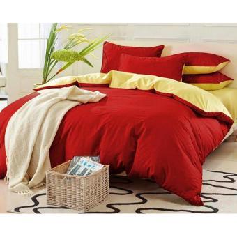 Alona Ellenov Jepang-Polos-Merah-Kuning Bed Cover Set Katun Jepang Super 180 x 200