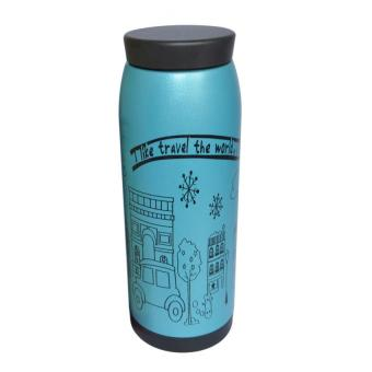 500ml Insulation Water Bottle Thermose Insulated Mug Stainless Steel Vacuum Flask (Blue)
