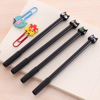 4x Cute Black Cat Gel Pen Kawaii Stationery Creative Gifts School Supplies 0.5mm Black - intl