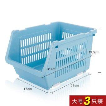 Built-In Shelf Thick Fruits And Vegetables Debris Admit Bonnets Shelf Kitchen Supplies 3 Pack , Large Blue 3 Pack - intl