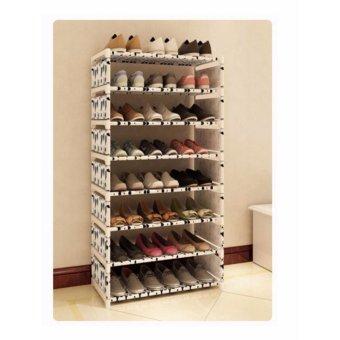 Harga Universal - Rak Sepatu 8 Susun - Hitam Putih