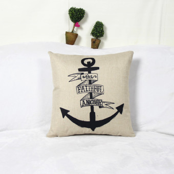 Scroll Anchor Print Cotton Linen Throw Pillow Case Cushion Cover Decor
