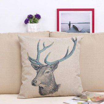 Retro Cotton Linen Square Vintage Throw Pillow Case Shell Decorative Cushion Cover Pillowcase Deer 18