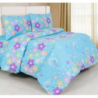 Alona Ellenov Cotton Flower Bed Cover Set 180 x 200 x 20 cm - Biru