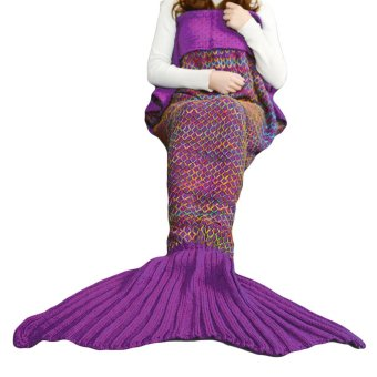 Portable Adults Women Mermaid Tail Style Blanket 70.87 x 35.43inches Lady Leg Warmer Winter Spring Autumn Sleeping Bag for Home Sofa Outdoor Camping Trip Dark Purple - intl