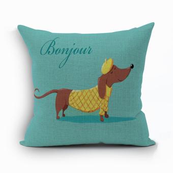 Yazilind Naughty dog pattern decorative pillowcase room sofa home 45*45CM/17.55*17.55 inch