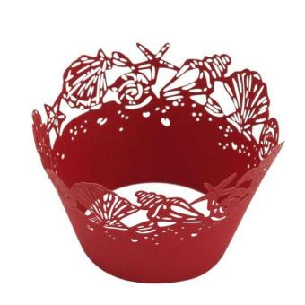 BolehDeals 50Pcs Sea Shells Hollow Edge Cupcake Liner Case Muffin Wrapper Decor Red - intl