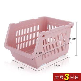 Built-In Shelf Thick Fruits And Vegetables Debris Admit Bonnets Shelf Kitchen Supplies 3 Pack , Large Pink 3 Pack - intl