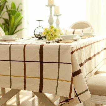 European Style Plaid Pattern Rectangle Cotton Tablecloth Size: 140 x 180cm - Beige - intl