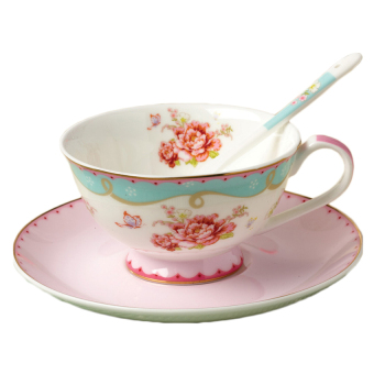 Fashion Roses Gold Foil Bone China Coffee Cup And Saucer 220Ml,Pink - intl