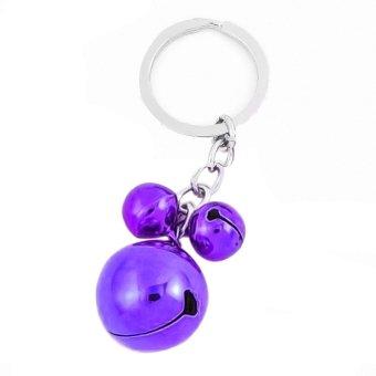 Fashion Metal 3 Bells Pendant Decor Split Ring Keyring Keychain Purple