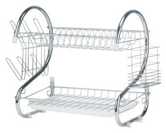 oanda Iron Plating 2 Tier Cutlery Basket Dish Utensil Drying Rack, Silver