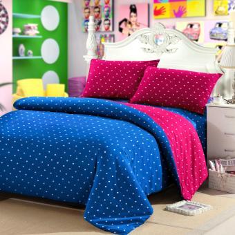 jaxine bedcover set katun polkadot biru fanta