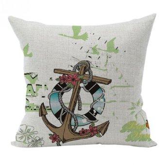 Nunubee Voyage Cotton Linen Home Square Pillow Decor Throw Pillow Case Sofa Cushion Cover Sail - Intl - Intl
