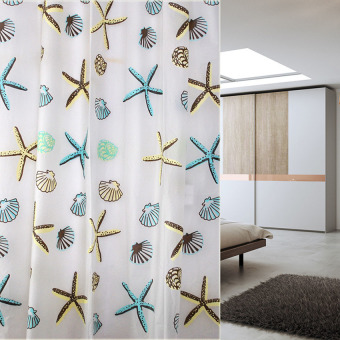 HKS Classic Sea Shell PEVA Bathroom Waterproof Mildew Proof Shower Curtain