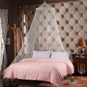 JinGle Lace Mosquito Netting Mesh Canopy Princess Round Dome Bedding Net (White)