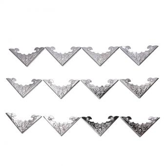 12Pcs Antique Wood Box Corner Protector Jewelry Wine Gift Case Decoration Nail Silver