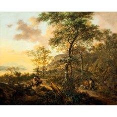Jiekley Fine Art - Lukisan An Italianate Evening Landscape Karya Jan Both - 1650