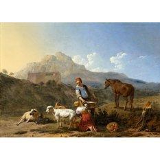Jiekley Fine Art - Lukisan Italian Landscape with Girl Milking a Goat Karya Karel Dujardin - 1652