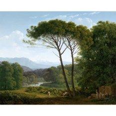 Jiekley Fine Art - Lukisan Italianate Landscape with Pines Karya Hendrik Voogd - 1795