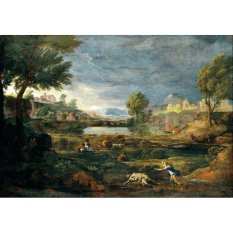 Jiekley Fine Art - Lukisan Landscape during a Thunderstorm with Pyramus and thisbe Karya Nicolas Poussin - 1651