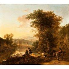 Jiekley Fine Art - Lukisan Landscape With A Draftsman Karya Jan Both - 1645