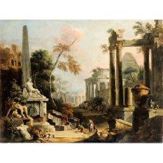 Jiekley Fine Art - Lukisan Landscape with Classical Ruins and Figures Karya Marco Ricci & Sebastiano Ricci - 1725-1730