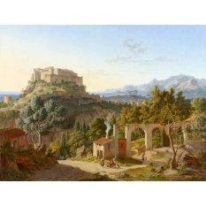 Jiekley Fine Art - Lukisan Landscape with the Castle of Massa di Carrara Karya Leo von Klenze - 1827