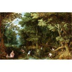 Jiekley Fine Art - Lukisan Latona and the Lycian Peasants Karya Jan Brueghel (I) - 1605
