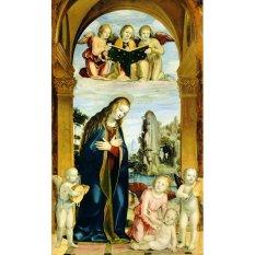 Jiekley Fine Art - Lukisan Madonna Adoring the Child with Musical Angels Karya Bernardino Zenale - 1502