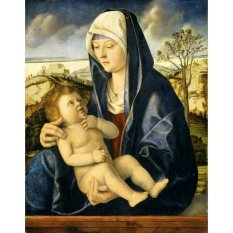 Jiekley Fine Art - Lukisan Madonna and Child in a Landscape Karya Giovanni Bellini (Workshop) - 1490-1500