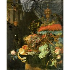 Jiekley Fine Art - Lukisan Still life with fruit and a goldfinch Karya Abraham Mignon - 1660-1679