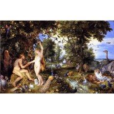 Jiekley Fine Art - Lukisan The Garden of Eden with The Fall of Man Karya Jan Brueghel the Elder & Peter Paul Rubens - 1615