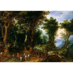 Jiekley Fine Art - Lukisan Wooded Landscape with Abraham and Isaac Karya Jan Brueghel the Elder - 1599