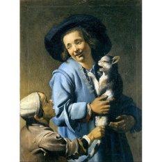 Jiekley Fine Art - Lukisan Youths playing with the cat Karya Abraham Bloemaert - 1620-1625