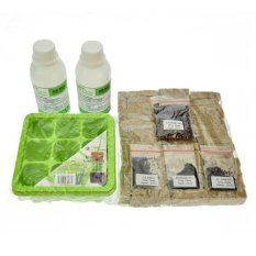 Jirifarm Hidroponik Paket Lengkap Semai / Penyemaian (Tray,Nutrisi,Bibit,Rockwool)