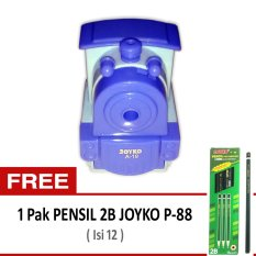 Joyko Rautan Pensil Putar Engkol - Kereta Lokomotif Biru + Gratis Pensil 2B Joyko