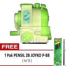 Joyko Rautan Pensil Putar Engkol - Kereta Lokomotif Hijau + Gratis Pensil 2B Joyko