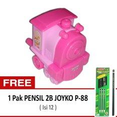 Joyko Rautan Pensil Putar Engkol - Kereta Lokomotif Pink + Gratis Pensil 2B Joyko