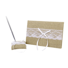 Jute White Lace Adorned Guestbook With Pen / Pen Stand For Wedding Reception