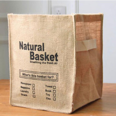 Jute Zakka Cloth Storage Basket Eco-friendly Desktop Storage Box Natural Basket Box Storage Bag Brief Laundry Storage Bags (Natural) 32X25.5X25.5CM - Intl