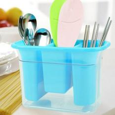 Kitchen Draining Water Chopsticks Racks Plastic Storage Box Knives And Forks Draining Rack (Blue) - Intl
