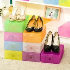 Kotak Sepatu Transparan Warna - Warni paket 10 pcs - Transparan Shoes Box