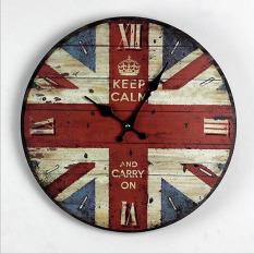 Kualitas tinggi gaya Eropa kayu bulat kreatif jam dinding antik motif  bendera Inggris jam dinding antik 1dc9d99e10