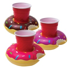 liebao 3pcs/New Fashion Donuts Water PVC Inflatable Toys Cola Beverage Cup Holder - intl
